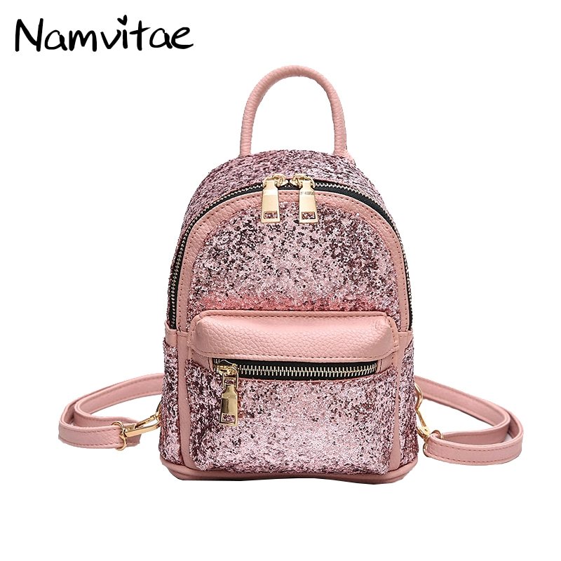 Women Sequins Pu Leather Backpack Rucksack Mini School Bags for Teenage Soft Handle Girls Zipper Casual Travel Backpacks women backpack large school bags for teenage girls shoulder bag vintage pu leather backpacks black casual solid rucksack xa83h