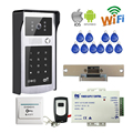 Free Shipping New Wifi Video Door Phone Intercom Metal Outdoor Doorbell + RFID Code Keypad Access for Phone + Strike Door Lock