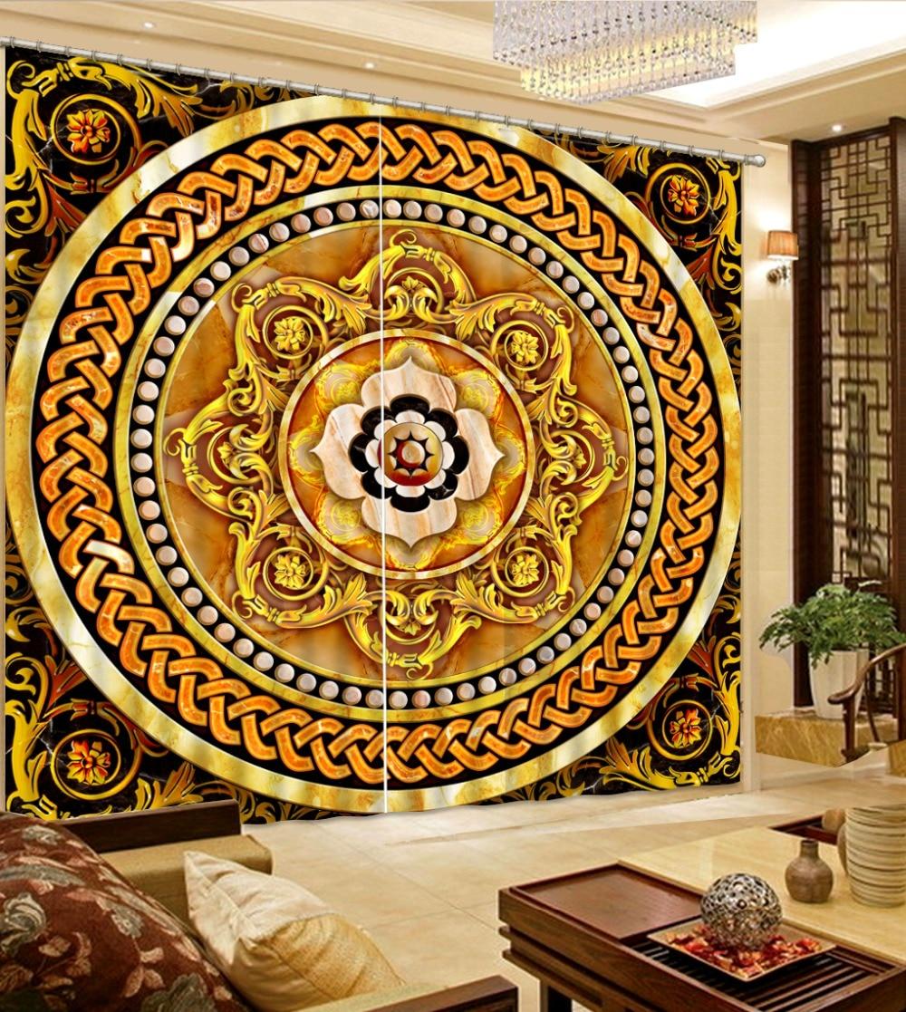 Photo 3D Curtains for Living Room Window golden curtains High quality custom 3d curtain fabric
