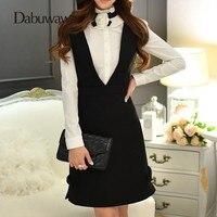 Dabuwawa Black Winter High Waist Zipper A line Skirt Ladies Casual Streetwear Mini Skirt Short Suspender Skirt #D16DDX011