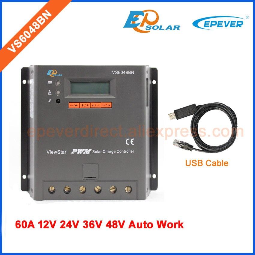 Батарея заряда Регулятор ШИМ EPSolar vs6048bn <font><b>60a</b></font> 60amp 12 В 24 В 36 В 48 В Авто Работа с USB кабель связи