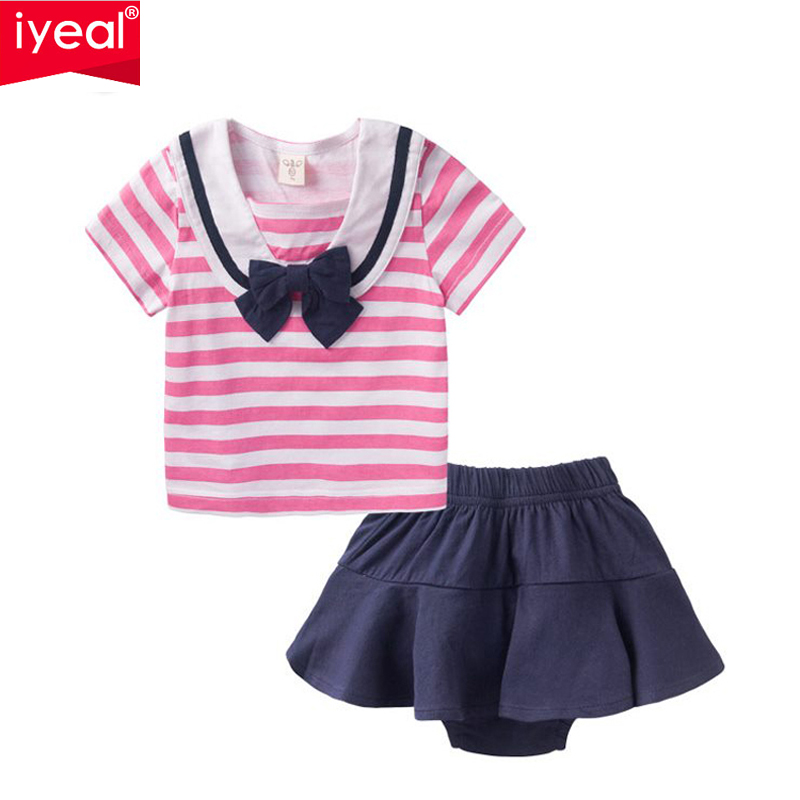 IYEAL Newest 2017 Baby Girl Set Kids Summer Clothes for girls baby Short sleeve Stripe T-shirt + Skirt Shorts girls clothes 2pcs children outfit clothes kids baby girl off shoulder cotton ruffled sleeve tops striped t shirt blue denim jeans sunsuit set