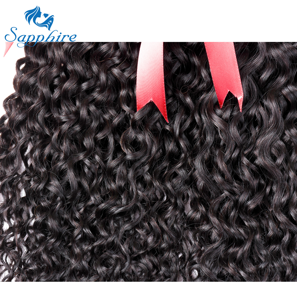 Sapphire Kinky Curly Human Hair 3 Bundles With Closure Brazilian Hair - Hair Salon Supply - Photo 5