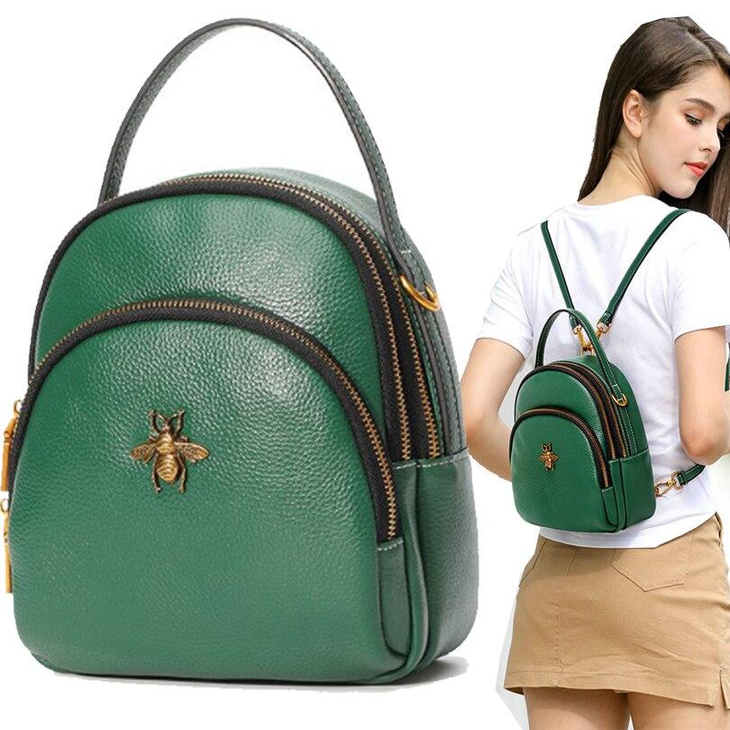 Petit sac à dos en cuir fille vert mini sac à dos sacs pour filles vintage motif abeille imperméable femmes anti-vol sac à dos ita sac