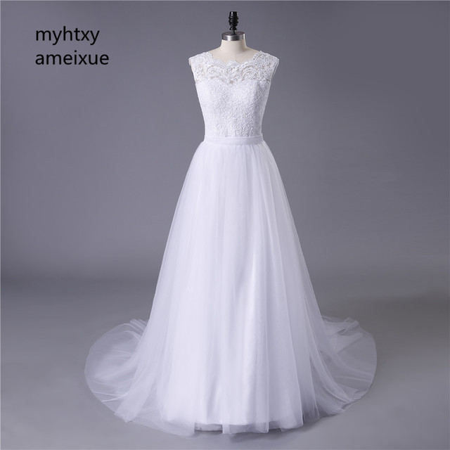 2017 New Lace O Neck Lace Tulle Boho cheap Wedding Dresses Summer ...