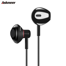 ASKMEER A19 In Ear Heavy Bass Sound Earphones Wired 3.5mm Earbud Music Headset with Microphone for iPhone Samsung Xiaomi MP3 original langsdom m400 in ear earphones special metal high quality heavy bass sound with microphone for all phone xiaomi