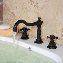 Новая Конструкция Двойной Ручкой Бассейна Смесителя Масло Втирают Бронзовый Бортике Водопад Ванная Раковина Кран