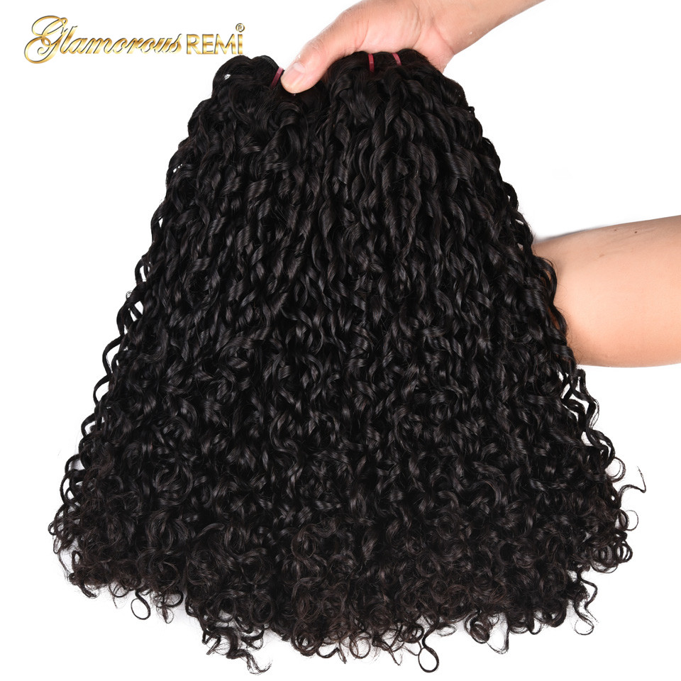 Double Drawn Pissy Curls  3 Bundles With 13*4 Lace Frontal 3