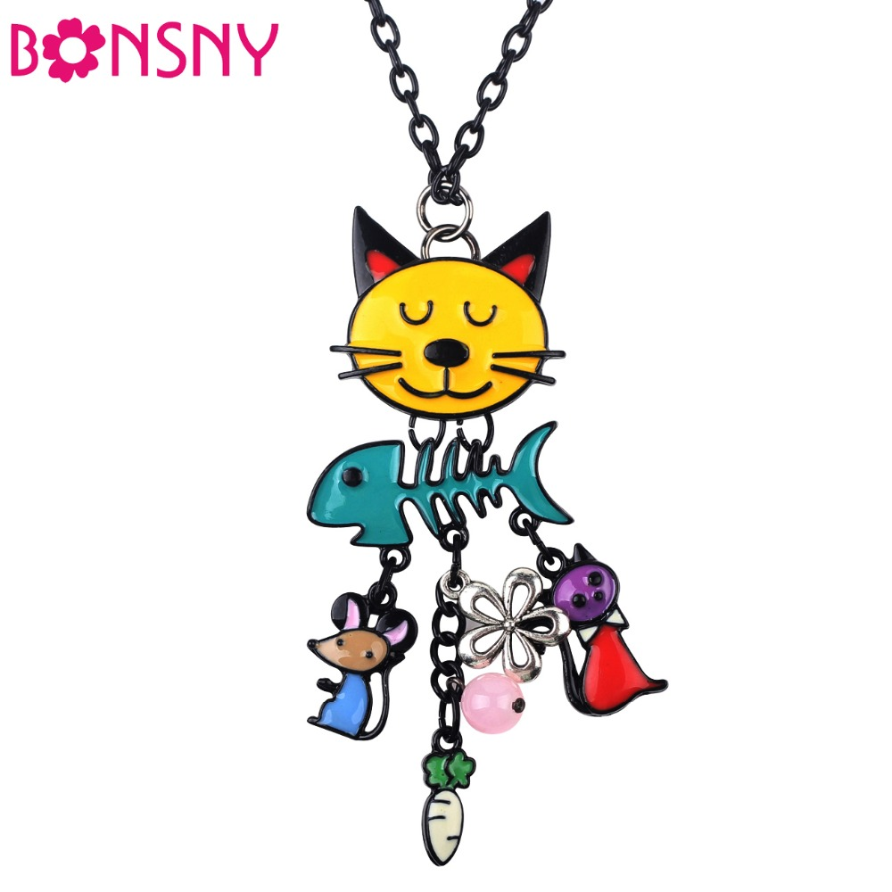 Bonsny Long Chain 2016 Colorful  French Cat Necklace Enamel Pendant Fish Alloy Charm Brand Jewelry For Women Girl  New Animal