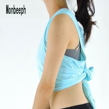 Monbeeph Sexy Women Vest Clothes stretch Tank Tops shirts with Back split t-shirt(China)