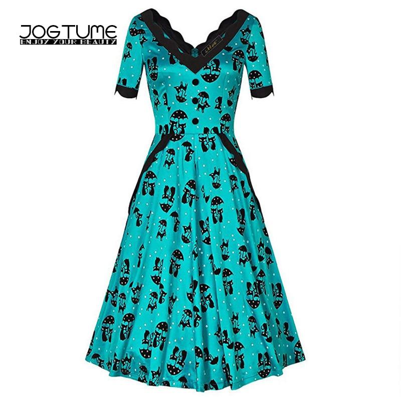 Amoyblue 2017 Women's Vintage Dress Cat Print Retro V-neck Hepburn Dresses Ladies Party Vestidos Green Blue Color Fashion Style