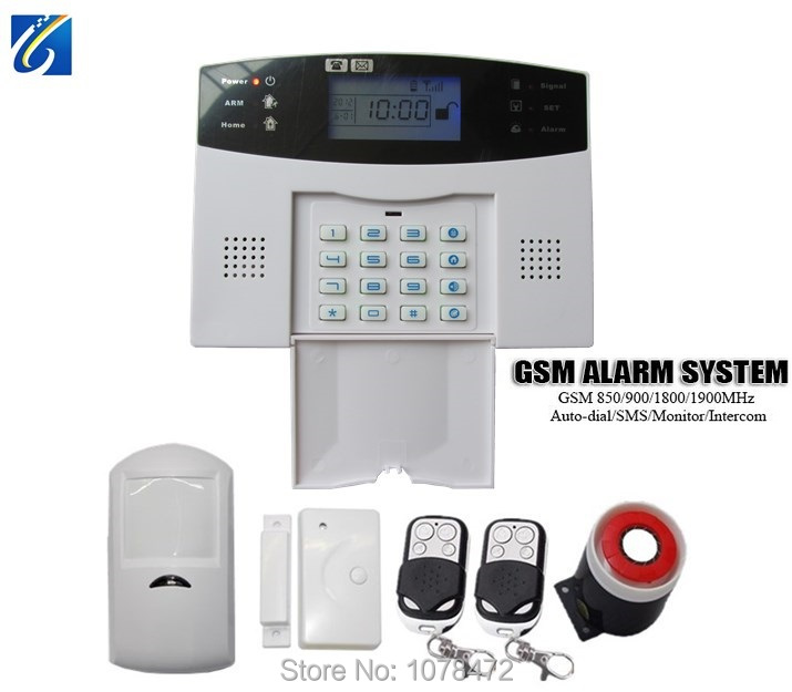 GSM alarm systeme Auto-dial SMS intercom home security alarm with GSM850/900/1800/1900Mhz anti-theft burglar alarm system wireless gsm pstn auto dial sms phone burglar home security alarm system yh 2008a
