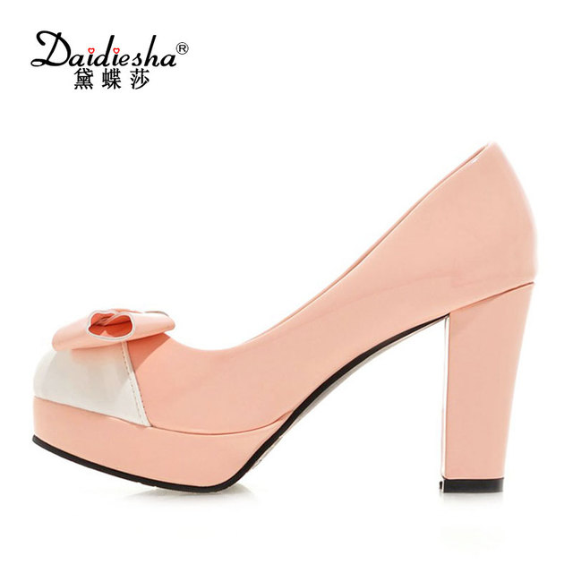 62ef33dd66d2bc Daidiesha 2018 New Fashion PU Leather Party Wear shoes Women Mixed Color  Block Heel shoes Sweet Butterfly-Knot Girls Fancy Shoes