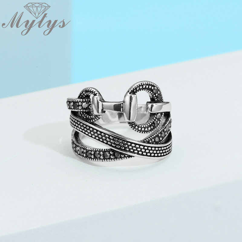Mytys  Line Cross Link With Buckle Unique Design Ring Retro Black Color Marcasite Ring for Women Jewelry Anillos Mujer  R2125