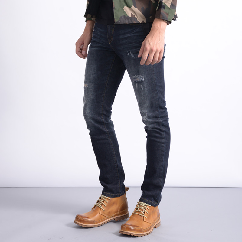 Hot Sale 2017 Distressed Jeans Men Cotton Homme Slim Mens Famous Brand Clothing Solid Mid Midweight Winter Autumn Full Length