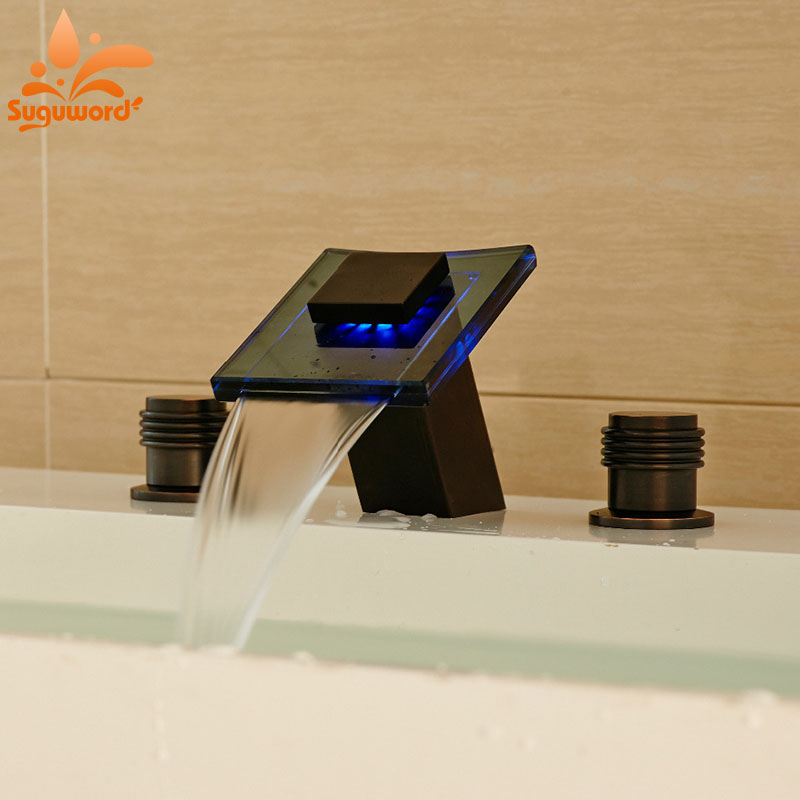 LED Waterfall Spout Dual Knobs Bathroom Sink Faucet Mixer Tap Oil Rubbed Bronze