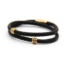 ZIG Mens Bracelets Stainless Steel Black Leather Bracelet Wristband Bangle Punk Style Fashion Jewlery Magnetic Clasp