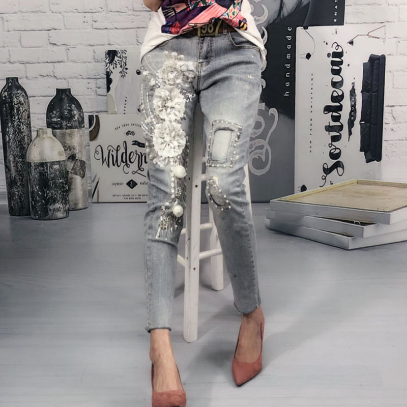 Vintage Jeans Women Spring Autumn New Fashion Gold Stamping Slim Elasticity High Waist Small Feet Nine-cent Jeans Pants Denim