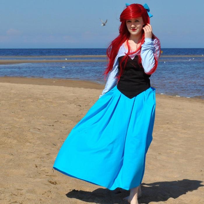 Nouveaux Costumes sur mesure Fantasia Halloween femmes adultes filles princesse Ariel robe la petite sirène Ariel Costume robe bleue