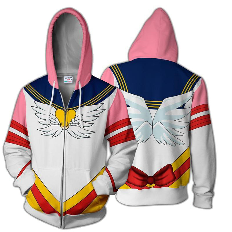 3D Printing  Anime Sailor Moon Crystal Sweatshirts Cosplay Costume Autumn Women Girls Fashion Zipper Jacket Hooded Sweater