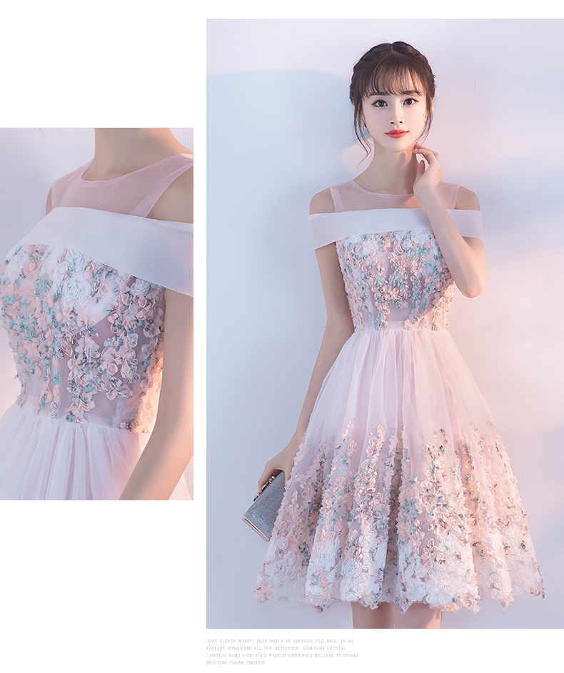 Princessally New Pink Short Evening Dress Flower Appliques Lace Short Sleeve Vintage Elegant Formal Homecoming Gown Robe Soriee 5