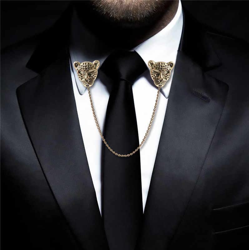 נשים Mens בגדי חליפת חולצה חולצת צווארון צוואר עצה סיכת בציר סיכת דש עם שרשרת ציצית צווארון קליפ מחזיק קישוט