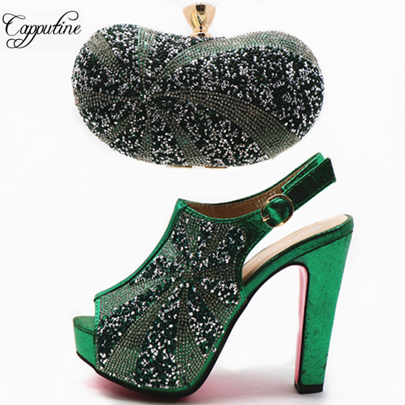 Capputine Nigerian Green Color Shoes And Matching Bag Set Italian Rhinestone High Heels Shoes With Bag For Party Size 38-42 G48 itlian style rhinestone slipper shoes and matching bag set new africa high heels shoes and bag set for party size 38 43