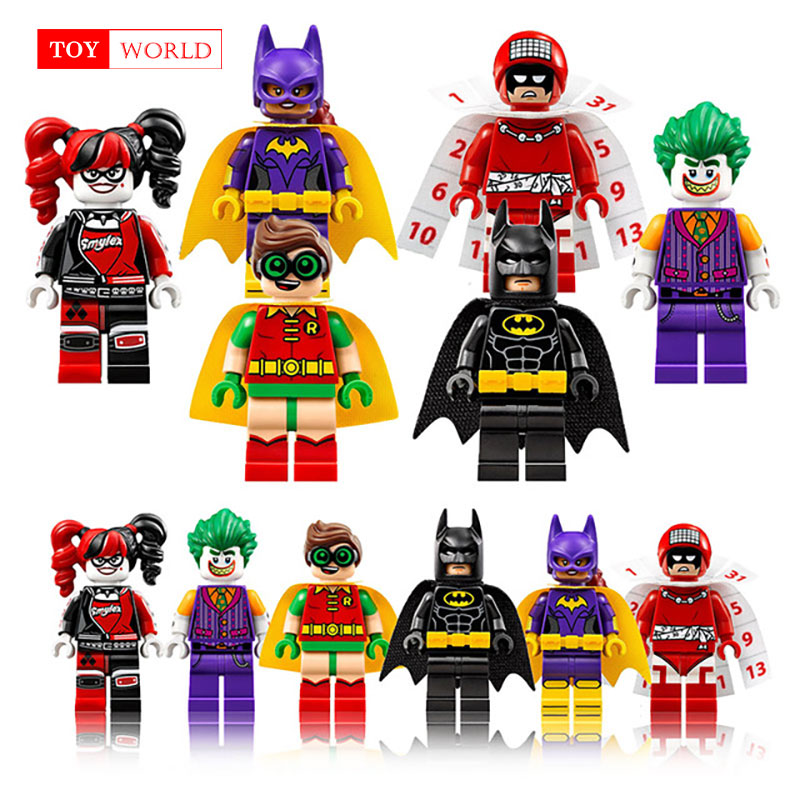 цены 1pcs Super Heroes Harley Quinn Joker Batman Movie Catwoman Robin Poison Building Blocks Compatible With LegoINGly Batman zk15