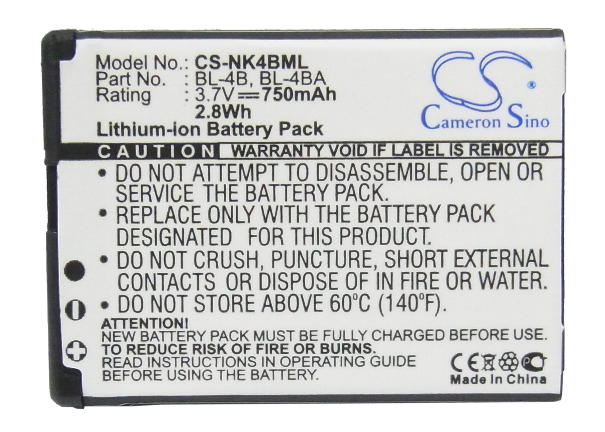 Cameron Sino 750mAh Battery BL-4B for <font><b>Nokia</b></font> 1606,2505,2630,2660,2760,3606,5000,6111,6125,6131,7088,7360,7370,7373,7500,<font><b>N76</b></font> image