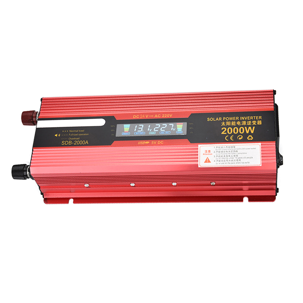 Car Inverter 24V to 220V Power Inverters Cars DC AC Voltage Converter Auto 2000W Charger Car LED Display USB Solar Adapter DY107 digital display vehicle 2000w usb car power solar inverter converter 12v dc to ac 220v usb charger adapter portable voltage