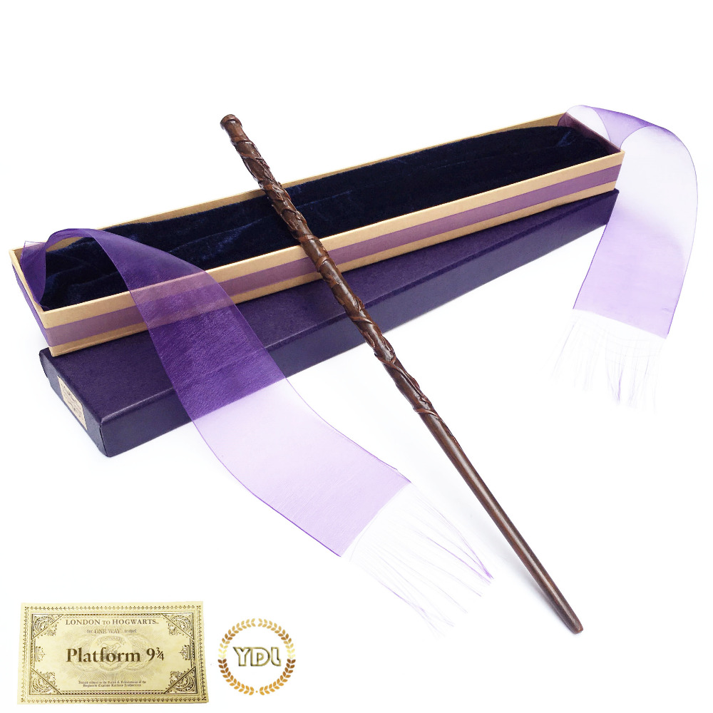 Hermione Dumbledore Metal/Iron Core HP Magic Wand Elegant Ribbon Box Packing Cosplay Christmas Gift With Train Ticket