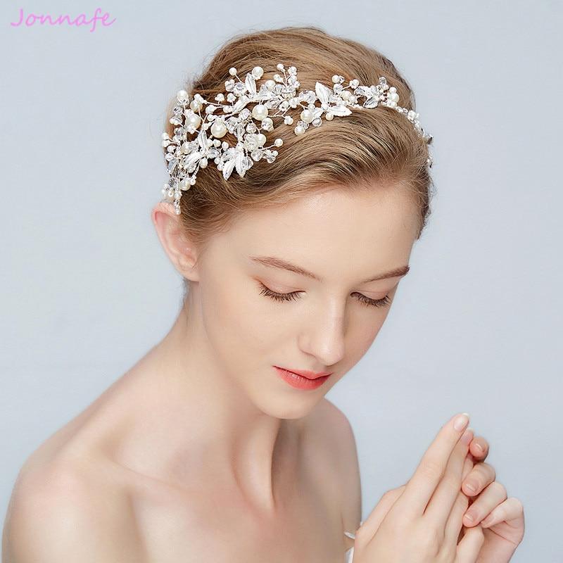 Wedding Crown Hair: Jonnafe New Silver Leaf Headband Bridal Tiara Pearls