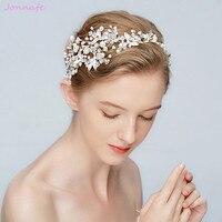 Jonnafe Nueva Hoja de Plata de la Venda de la Tiara Nupcial Perlas Corona Pelo de la Boda Accesorios Mujeres de La Moda de Fiesta Pedazo Del Pelo de la Joyería