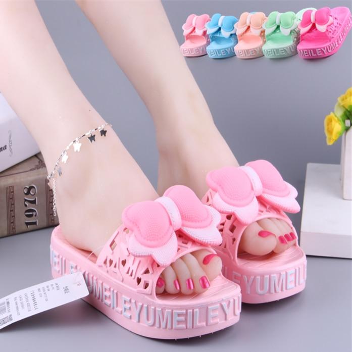 все цены на women summer high heel slipper wedges shoes Bow-knot rosette comfort slides for women 4 colours