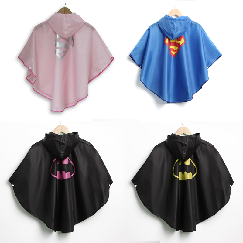 Gold Hands New Arrival Children Waterproof Rain Coat Batman Superman Kid Lovely Rain Wear Free Shipping