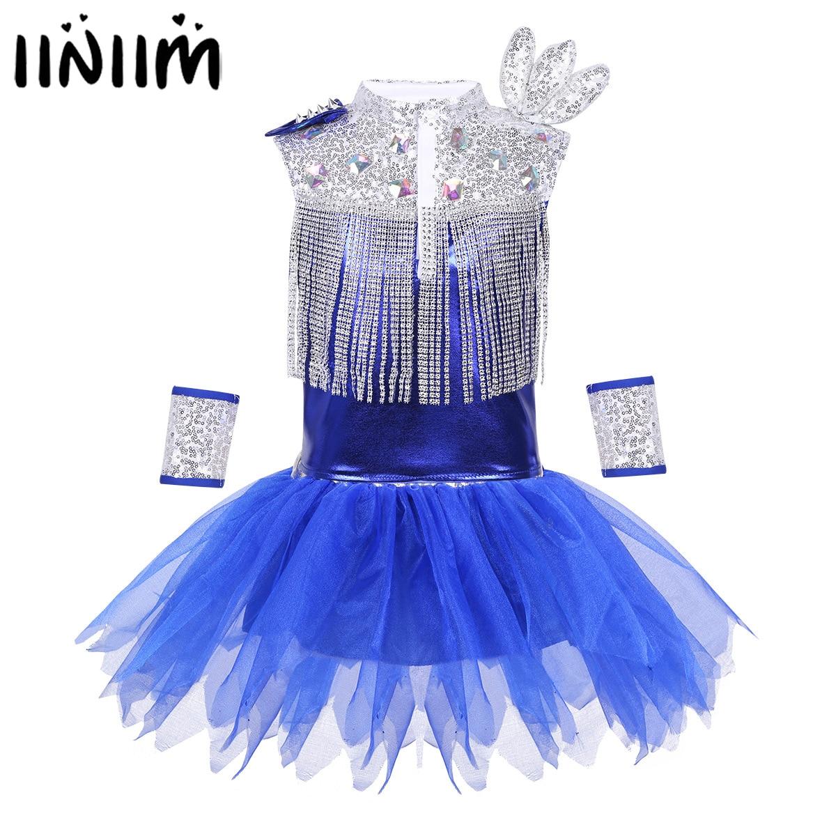 Kids Girls Hip-hop Jazz Costumes Street Dancing Dress Glitter Reflective Rhinestone Tassels Tops with Skirt Wrist-Sleeves Socks