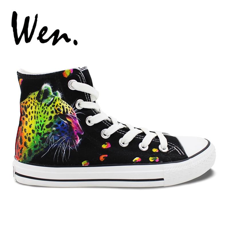 caa577731 ون الأصلي اليد رسمت أحذية تصميم مخصص الملونة ليوبارد نمط الرجال المرأة  عالية أعلى قماش أحذية رياضية للهدايا