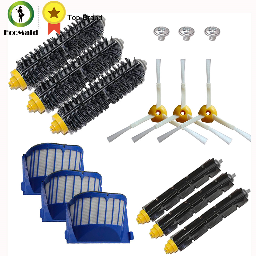 Bristle & Flexible Beater Brush 3-Armed Brush Aero Vac Filters kit for iRobot Roomba 600 Series 620 630 650 660 Cleaning Tool 14pcs free post new side brush filter 3 armed kit for irobot roomba vacuum 500 series clean tool flexible bristle beater brush
