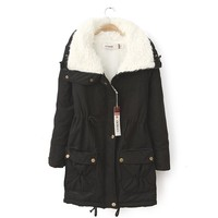 Women Fashion Cold Winter Outwear 2016 New Natural Faux Fur Lined Long Jacket Parka With Natural
