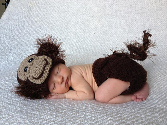 free shipping, Crochet baby Monkey Hat Diaper Cover baby Set newborn hat caps Newborn knitting Photo Prop size:0-1m,3-4m