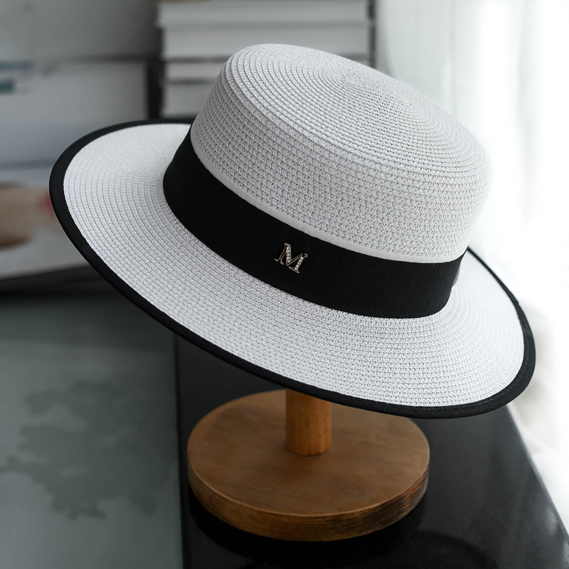 Simple New Summer Parent-child Beach Hat Female Casual Panama Hat Lady Brand Women Flat Brim Bowknot Straw Cap Girls Sun Hat