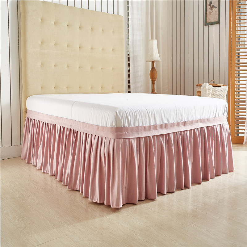 light pink solid color wrap around solid ruffled bed skirt us twin queen king size polyester. Black Bedroom Furniture Sets. Home Design Ideas