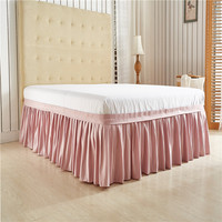 Light Pink Solid Color Wrap Around Solid Ruffled Bed Skirt, US Twin Queen King Size Polyester Fabric Soft