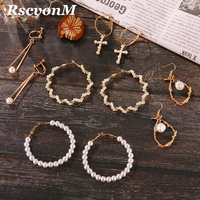 Fashion Punk Women Girl Wedding Jewelry Gold-color Big Flower Loop Hoop Earring Imitation Pearl Beads Wedding Hoop Earrings