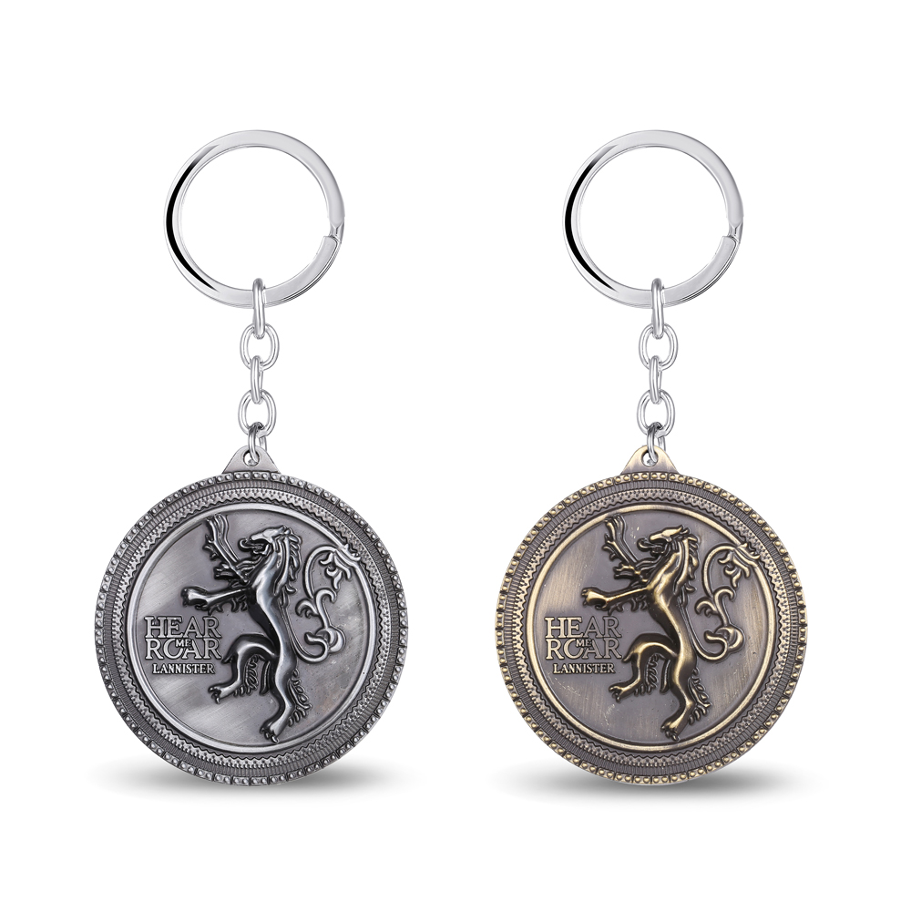 Jewelry Exquisite Lion Pattern Pendants Key Chain Game of thrones House Keychain Sound of Ice And Fire Keyring