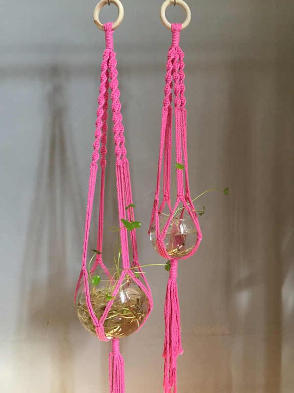 Горячая Распродажа качественный двухканальный Модуль цветной ручной работы Подвеска для растений из макраме с деревянным кольцом синий розовый бежевый темно-синий