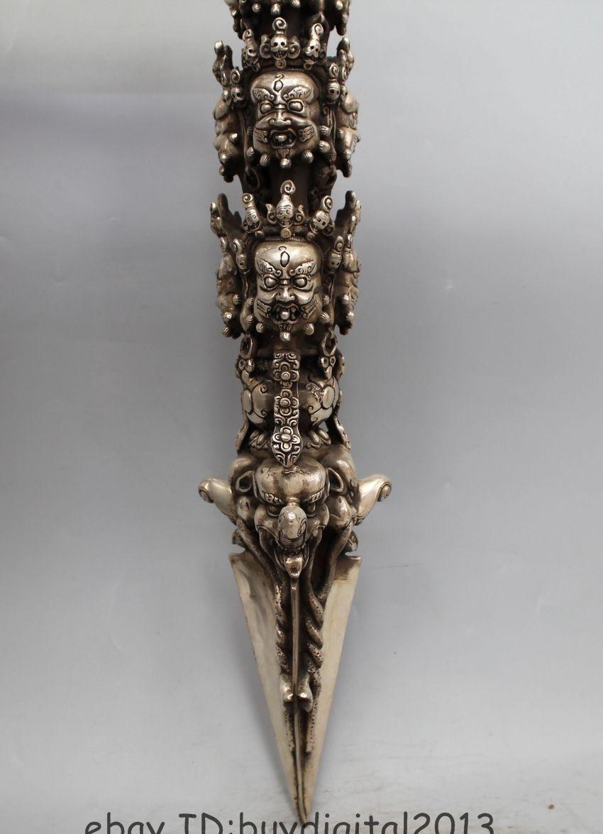 Buddhism Delicate Tibetan Silver Mahakala Buddha Head Vajra Dagger Statue