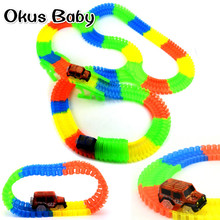 Brand New 88/168/248/328 PCS Glowing LED Light Up Magic Electronics Car Toy Glow race track Set Toys For Children Boy