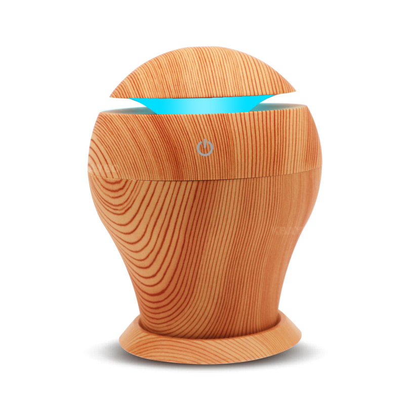 250Ml Wood Grain Air Humidifier Ultrasonic Aroma Essential Oil Diffuser With Colourful Night Light