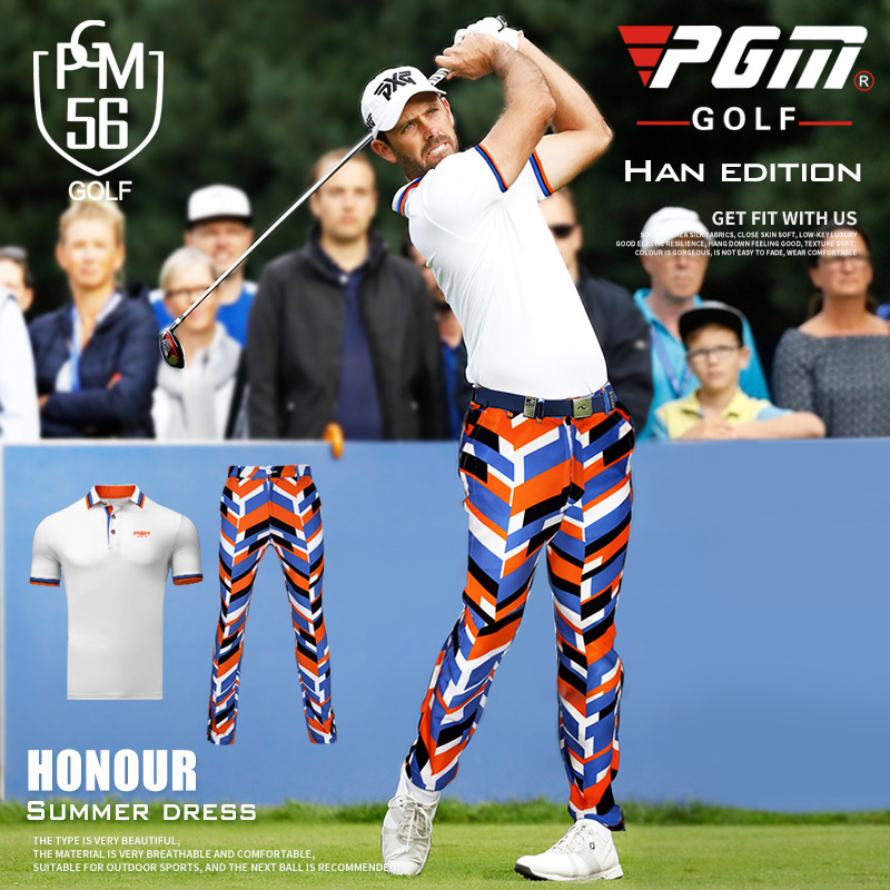 PGM NEW spring summer golf clothing mens short-sleeved T-shirt mens clothing breathable quick-drying Button collar Golf Shirts